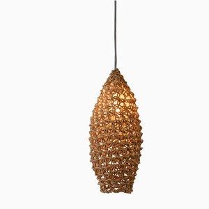 Lámpara colgante Bulle pequeña de macramé en tono natural de BEST BEFORE