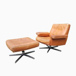 DS 53 Drehsessel mit verchromtem Gestell & Sitz aus gegerbtem Leder & Fußhocker von de Sede, 1960er