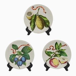 Mid-Century Porzellanteller mit Obst-Motiven aus dem 18. Jh. von Villeroy & Boch, 3er Set