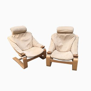 Swedish Suede Kroken Chairs by Åke Fribytter for Nelo Möbel, 1970s, Set of 2
