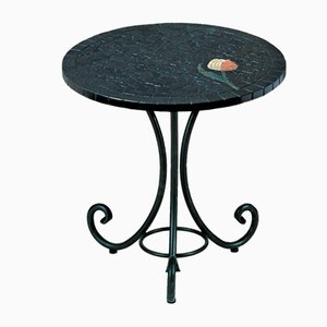 Round Italian Topaz Marble Mosaic Table by Egram