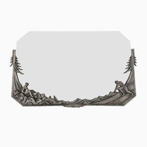 Französischer Art Deco Spiegel mit Rahmen aus versilberter Bronze, 1920er