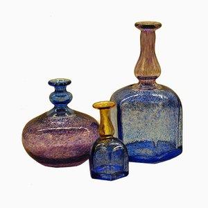 Jarrones de vidrio soplado a mano de Bertil Vallien para Kosta Boda, años 80. Juego de 3
