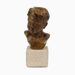 Buste de Garçon Vintage en Plâtre par Giuseppe Carli