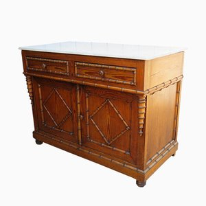 Antique Faux Bamboo Cupboard with Marble Top
