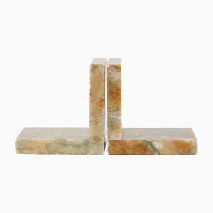 Fermalibri vintage in alabastro, anni '20, set di 2