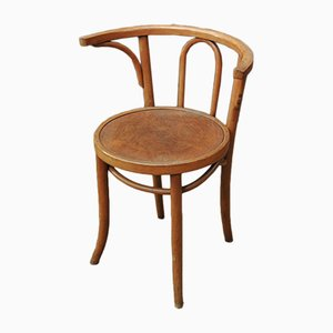 Curved Wood Bistro Armchair, 1920s