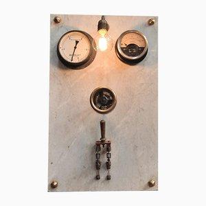 Lámpara de pared eléctrica de mármol y metal, años 30