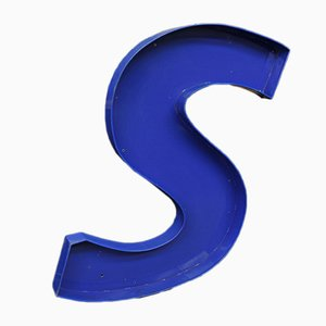 Large Metal Decorative Letter S, 1970s