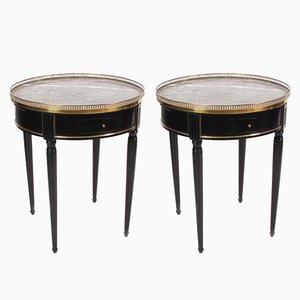 Mesas Bouillotte francesas vintage negras con superficies de mármol. Juego de 2