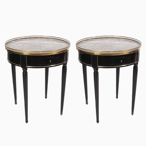 Vintage French Black Bouillotte Tables with Marble Tops, Set of 2