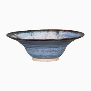 Cuenco danés de cerámica azul de Dyrholm, años 80