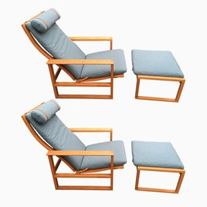 Sled Chairs & Ottomans by Borge Mogensen for Fredericia, 1960s, Set of 2