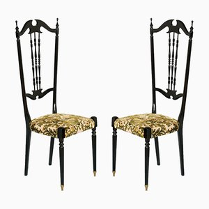 Chaises à Dossier Haut Chiavari Antiques par Gaetano Descalzi, Set de 2