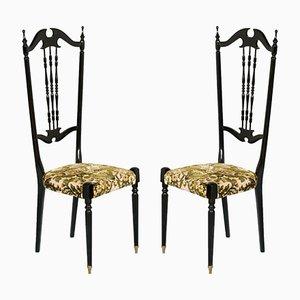 Chaises à Dossier Haut Chiavari de Style Antique par Gaetano Descalzi, 1930s, Set de 2