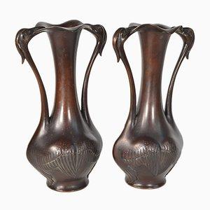 Vases 19ème Siècle en Bronze, Japon, Set de 2