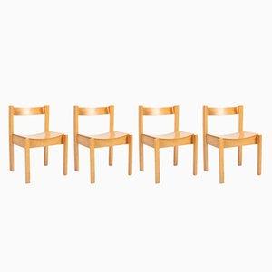 Chaises Vintage en Contreplaqué et Hêtre, Angleterre, 1960s, Set de 4
