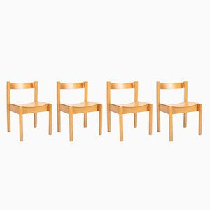 Vintage English Bent Plywood and Beech Chairs, 1960s, Set of 4