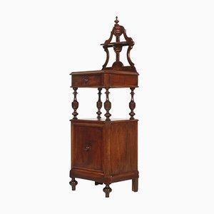 Comodino Luigi Filippo in legno di noce, XIX secolo
