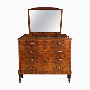 Cassettiera Art Déco veneziana in legno di noce e marmo