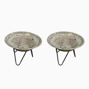 Concrete & Metal Planters, 1950s, Set of 2