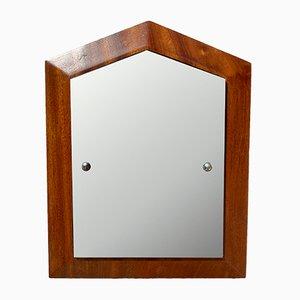 Specchio a muro piccolo vintage in teak, anni '60