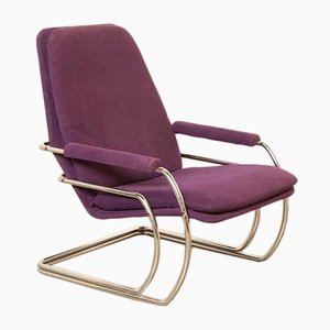 Sessel mit violettem Bezug & verchromtem Rohrgestell von Jan des Bouvrie für De Ster Gelderland, 1970er