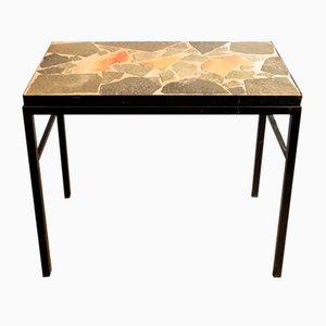 Tavolino modernista in metallo nero con ripiano in pietra, anni '50