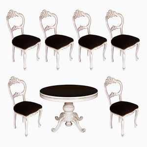 19th Century Baroque Extendable Round Table & Chairs Set