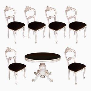 Ausziehbarer runder barocker Tisch & Stühle, 19. Jh.