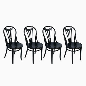 Black Ebonized Chairs from Thonet, 1920s, Set of 4