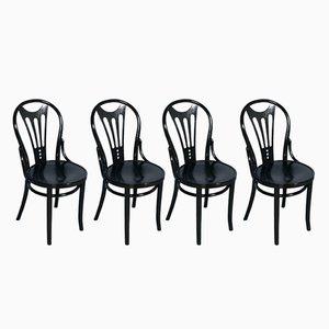 Schwarz ebonisierte Stühle von Thonet, 1920er, 4er Set
