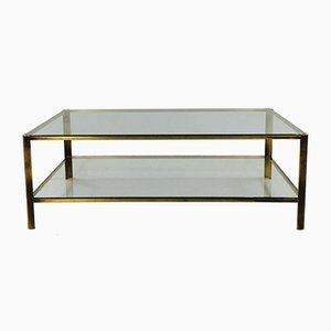 Brass and Glass Coffee Table by Jacques Quinet for Broncz, 1960s