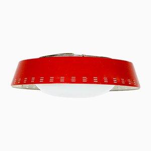 Lámpara de techo de vidrio y acero esmaltado en rojo de Jo Hammerborg para Fog & Mørup, años 50