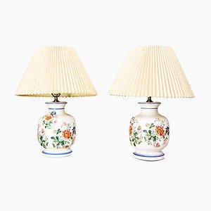 Vintage Tischlampen aus Porzellan mit Blumen-Motiven, 2er Set