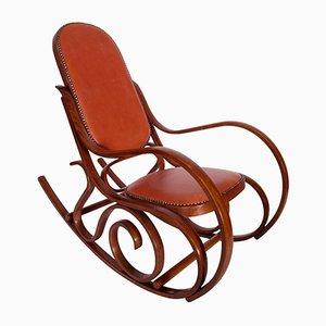 Sedia a dondolo Art Nouveau in legno di faggio curvato di Michael Thonet