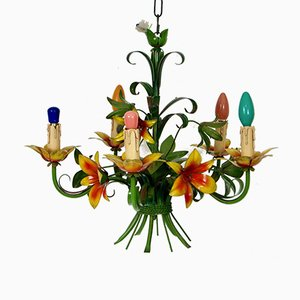 French Floral Toleware Chandelier, 1950s