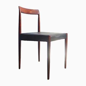 Esszimmerstühle mit Gestell aus Palisander & Sitz aus schwarzem Leder von Lübke, 4er Set
