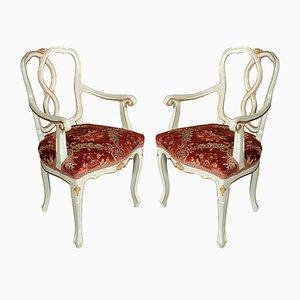 Antike barocke venezianische Armlehnstühle, 2er Set