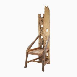 Silla Mid-Century de madera de olivo y nogal, años 40