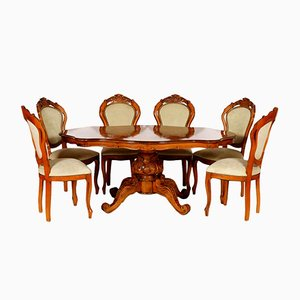 Baroque Style Hand-Carved Walnut Dining Set, 1930s