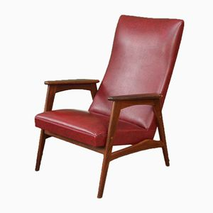 Mid-Century Dutch Burgundy High Back Armchair, 1960s
