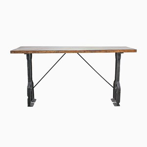 English Industrial Console Table, 1940s