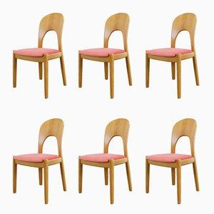 Esszimmerstühle mit Gestell aus Eiche & pinkem Samtbezug von Niels Koefoed für Koefoeds Hornslet, 1960er, 6er Set