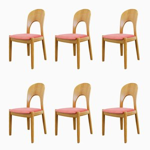 Oak & Pink Velvet Dining Chairs by Niels Koefoed for Koefoeds Hornslet, 1960s, Set of 6