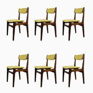 Sedie da pranzo vintage in velluto giallo, anni '50, set di 6