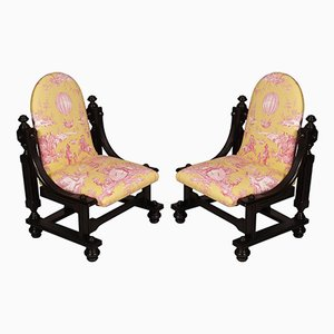 Antique Baroque Bergere Armchairs, Set of 2