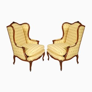 Antique Baroque Bergere Walnut Armchairs, Set of 2