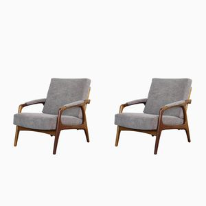 Mid-Century Teak and Wicker Easy Chairs, 1950s, Set of 2