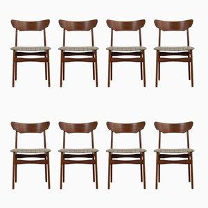 Dänische Esszimmerstühle mit Gestell aus Teak von Schiønning & Elgaard für Randers, 1960er, 8er Set